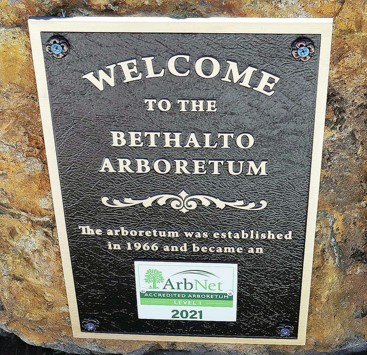 A plaque has been posted near the arboretum's entrance announcing the its new accredidation.