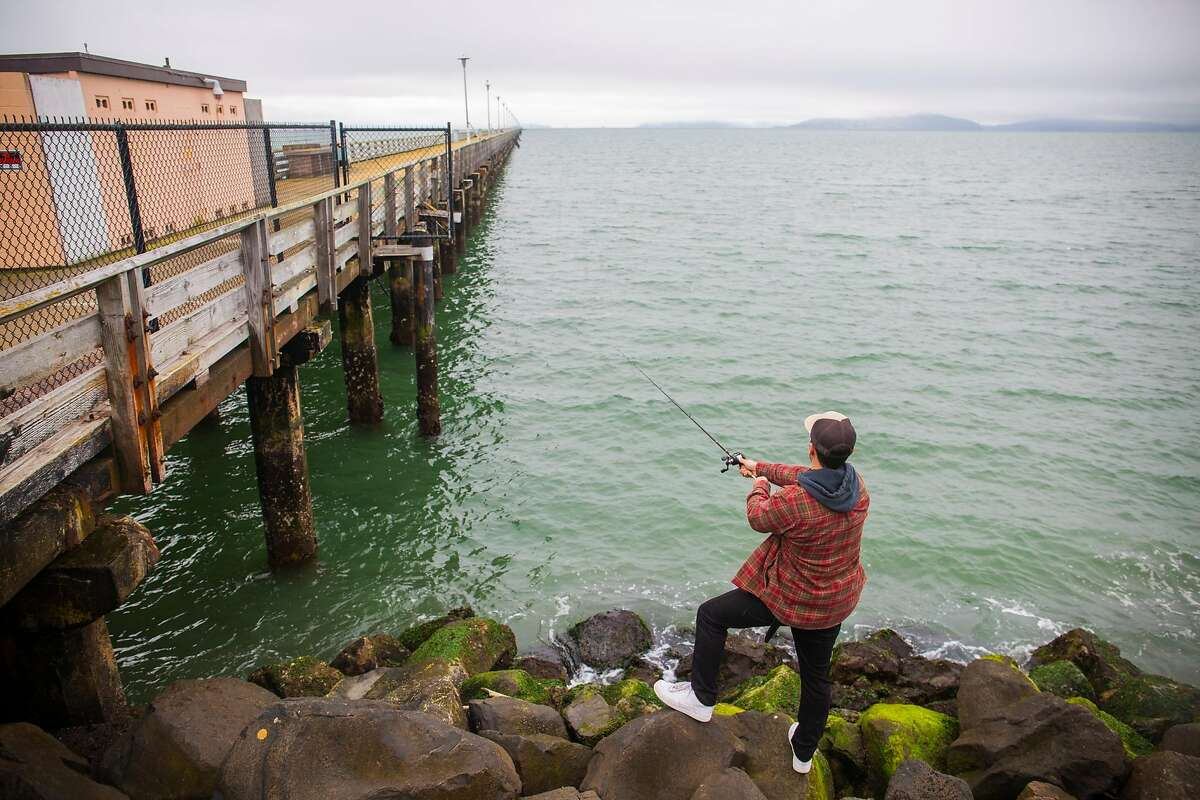 Leo Barkos fishes for halibut in between the Berkeley Pier and the restaurant Skates on the Bay.Barkos grew up fishing here with his older brother but still tries his hand at shore fishing since the pier closed.