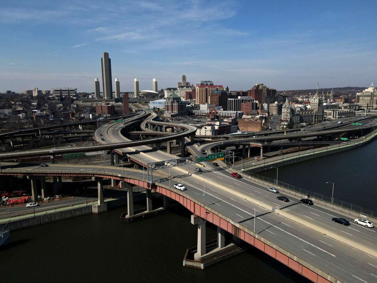 The Albany skyline in seen across Dunn Memorial Bridge on Thursday, March 11, 2021, from Rensselaer, N.Y. (Will Waldron/Times Union)