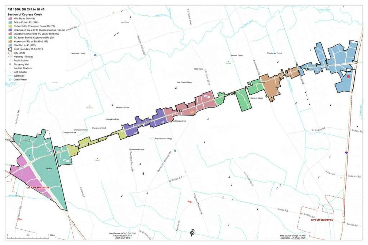 The proposed Cypress Creek Parkway Management Distrct, stretching along FM 1960 from Highway 249 to I-45.
