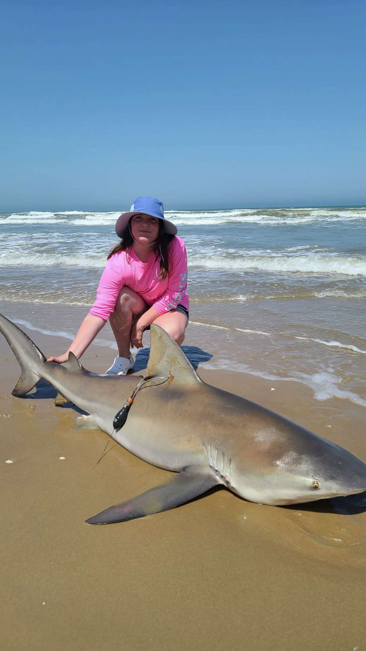 Emily Davis, 13, of Conroe managed to reel in a 6 foot, 4 inch Bull Shark at Padre Island National Seashore on Saturday.