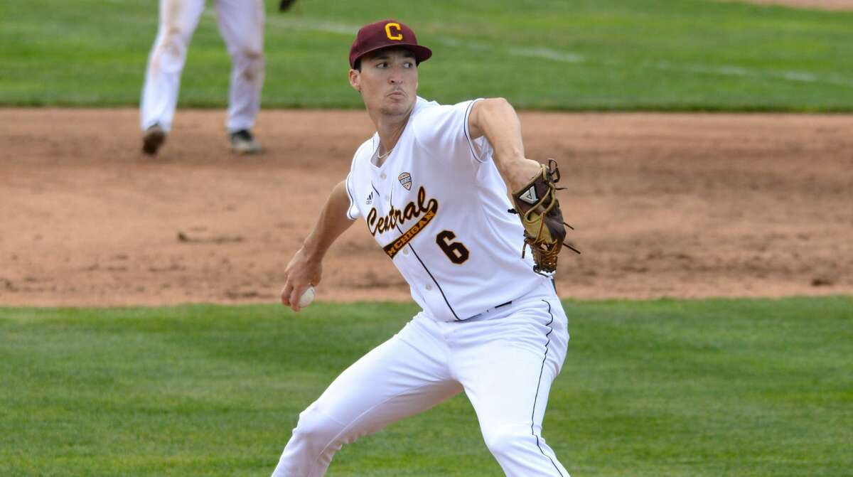 Central Michigan's Jordan Patty prepares to deliver a pitch during a game earlier this season.