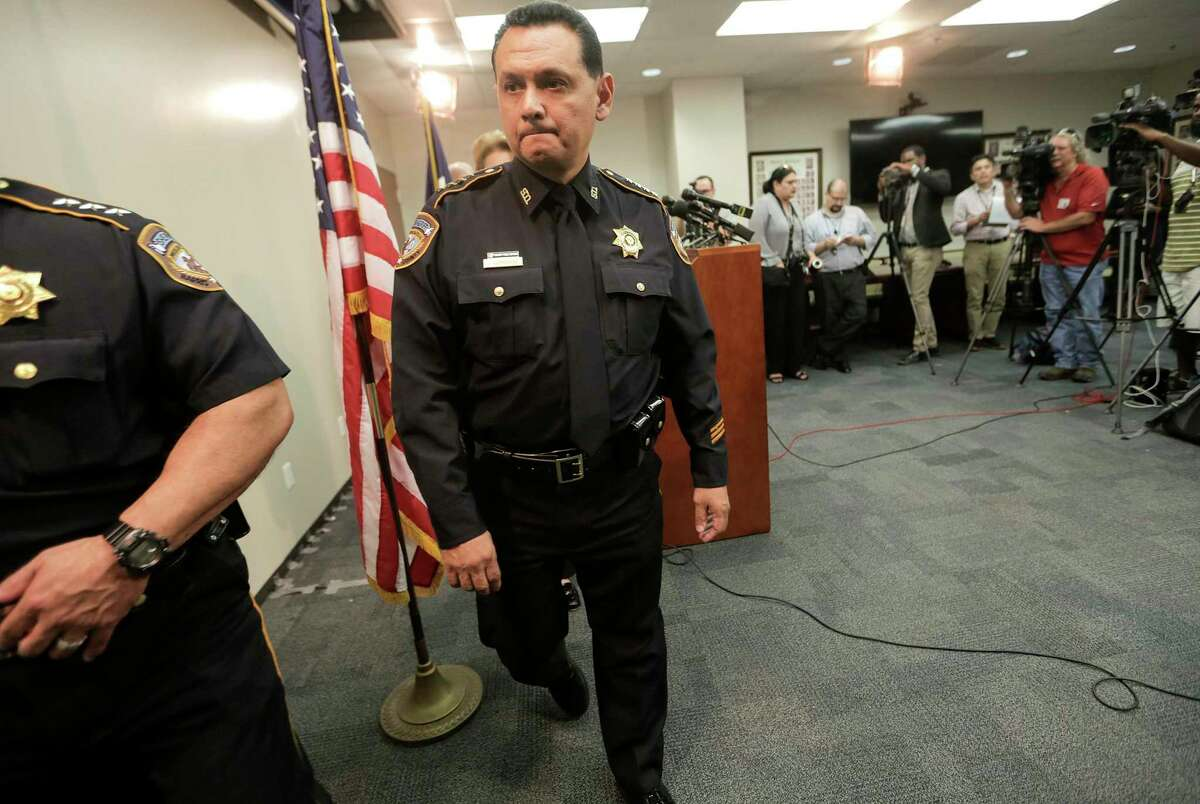 FILE - In this June 8, 2017, file photo, Harris County Sheriff Ed Gonzalez leaves a news conference, in Houston. President Joe Biden has nominated Gonzalez, a sheriff of one of the nation's most populous counties, to lead the agency that deports people in the country illegally. Gonzalez is Biden's pick for director of U.S. Immigration and Customs Enforcement, an agency that has been without a Senate-confirmed leader since 2017.