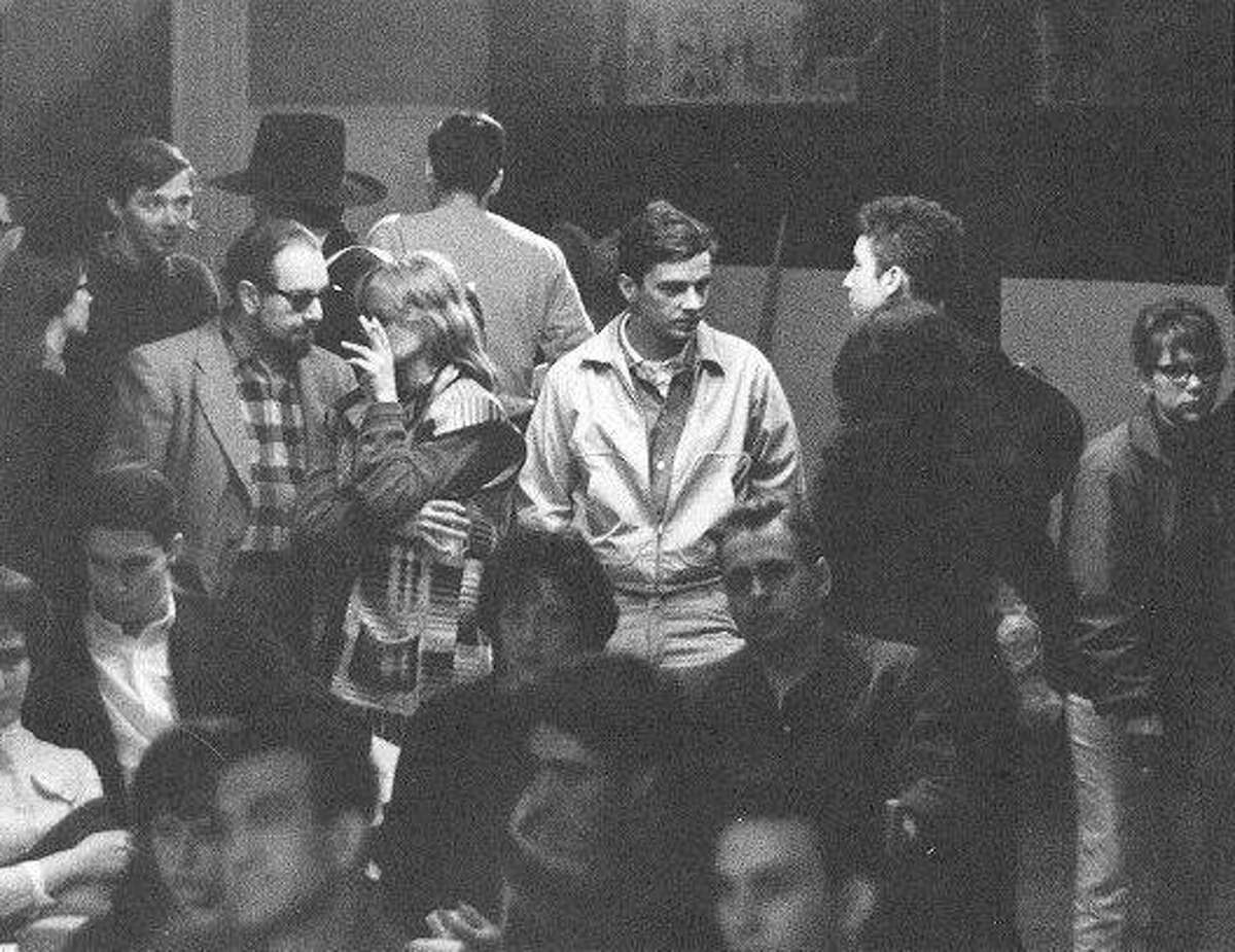 Bob Dylan, second from right, mingling in the crowd at the 1961 Indian Neck Folk Festival in Branford. The photo was taken by Stephen H. Fenerjian, then a 27-year-old photographer in Cambridge, Mass. Fenerjian now is 87 and living in Sharon, Mass.