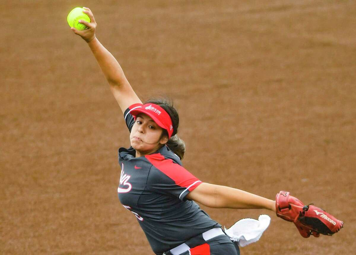 Pitcher Samara Sanchez of Judson throws against Clark during softball playoffs action at the Northside Field No. 2 on Friday, April 30, 2021.