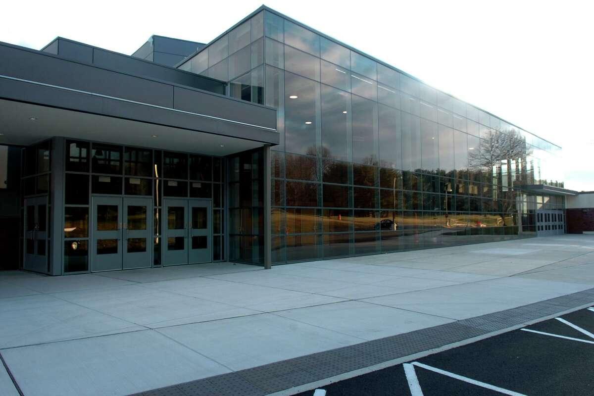 Exterior of Trumbull High School, in Trumbull, Conn. Jan. 2nd, 2012.