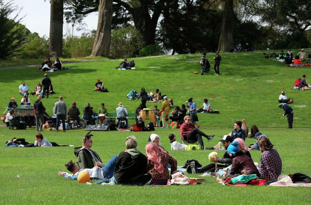 Folks enjoy their afternoon at Golden Gate Park on Saturday, April 24, 2021, in San Francisco, Calif.