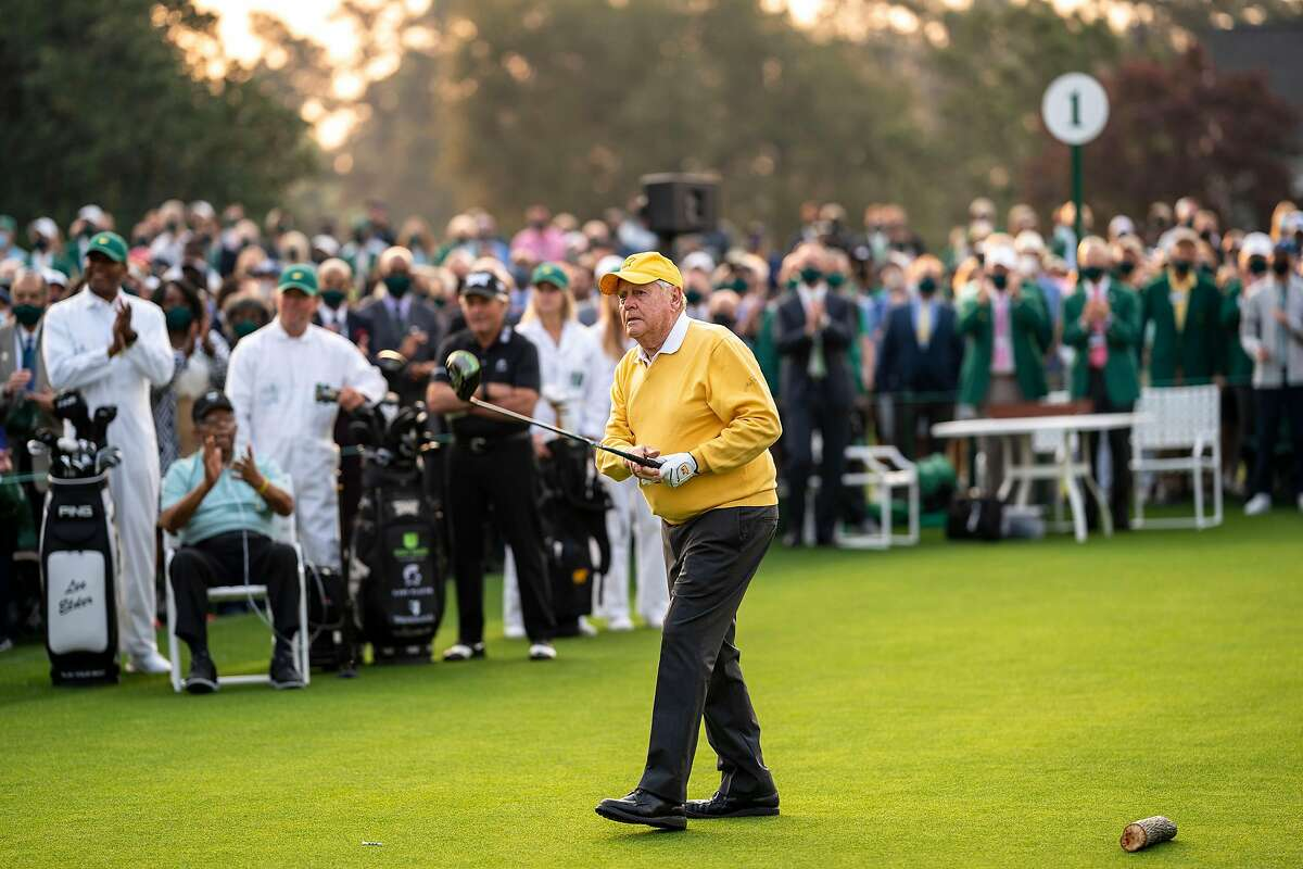 Jack Nicklaus watches his tee shot during the ceremonial tee shots starting the Masters Tournament at Augusta National Golf Club in Augusta, Ga., in April.