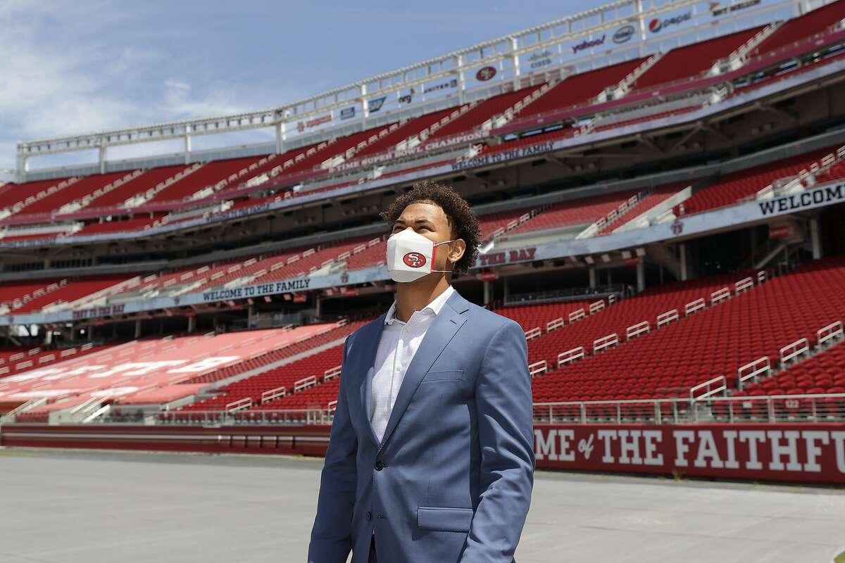 San Francisco 49ers first-round draft pick, quarterback Trey Lance, at Levi's Stadium in Santa Clara, on April 30, 2021.