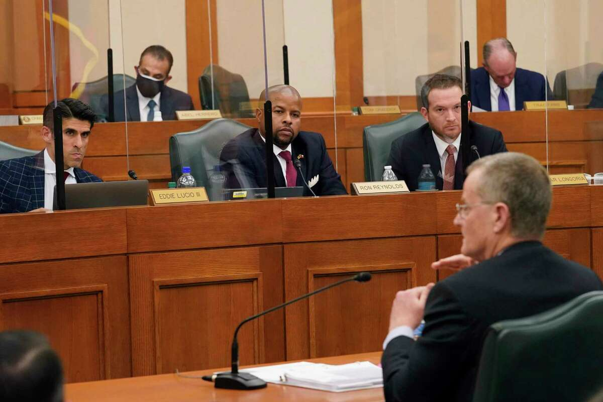 Lawmakers listen as Bill Magness, then president and CEO of the Electric Reliability Council of Texas, testifies during a Feb. 25 joint public hearing to consider the factors that led to statewide electrical blackouts.