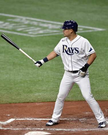 ST PETERSBURG, FLORIDA - APRIL 30: Yoshi Tsutsugo #25 of the Tampa Bay Rays stands at the plate during the third inning against the Houston Astros at Tropicana Field on April 30, 2021 in St Petersburg, Florida. (Photo by Douglas P. DeFelice/Getty Images) Photo: Douglas P. DeFelice/Getty Images / 2021 Getty Images