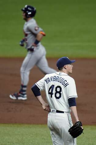 Tampa Bay Rays starting pitcher Ryan Yarbrough (48) reacts as Houston Astros' Alex Bregman runs around the bases after his two-run home run during the third inning of a baseball game Friday, April 30, 2021, in St. Petersburg, Fla. (AP Photo/Chris O'Meara) Photo: Chris O'Meara/Associated Press / Copyright 2021 The Associated Press. All rights reserved.