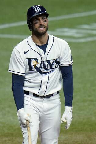 Tampa Bay Rays' Kevin Kiermaier reacts after striking out against Houston Astros starting pitcher Lance McCullers Jr. during the fifth inning of a baseball game Friday, April 30, 2021, in St. Petersburg, Fla. (AP Photo/Chris O'Meara) Photo: Chris O'Meara/Associated Press / Copyright 2021 The Associated Press. All rights reserved.
