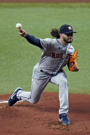 Houston Astros' Lance McCullers Jr. pitches to the Tampa Bay Rays during the first inning of a baseball game Friday, April 30, 2021, in St. Petersburg, Fla. (AP Photo/Chris O'Meara) Photo: Chris O'Meara/Associated Press / Copyright 2021 The Associated Press. All rights reserved.