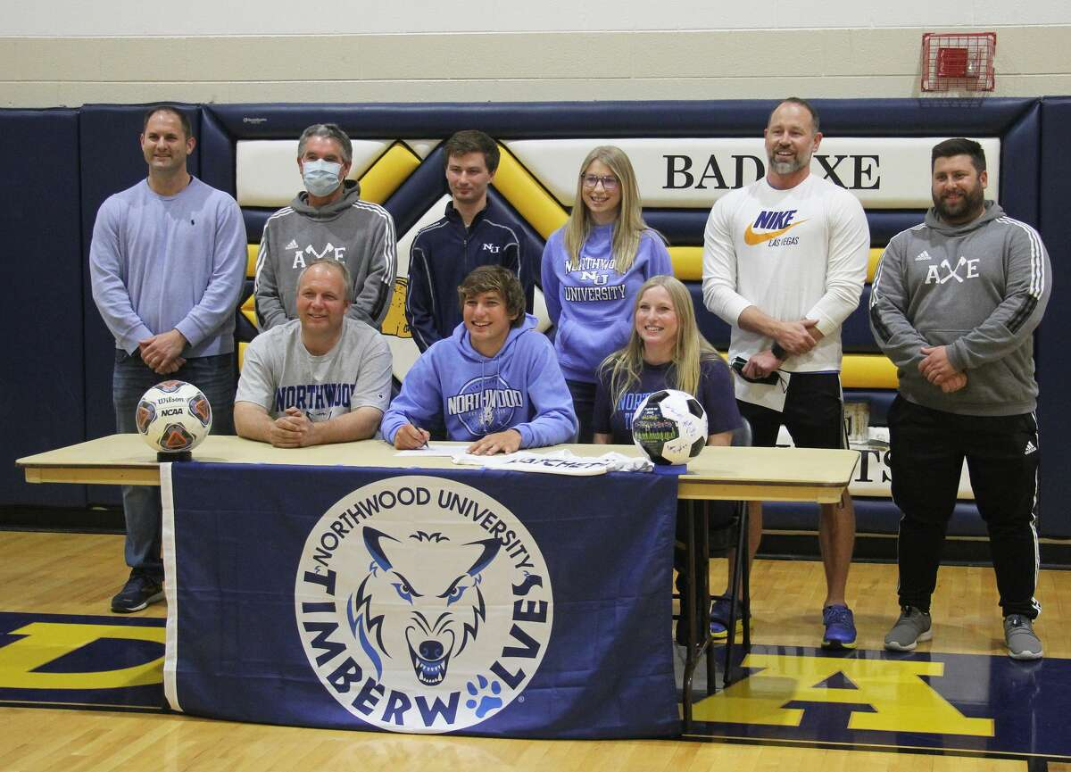Bad Axe senior Nick Errer signed a letter of intent to play soccer at Northwood University in the fall. Errer signed his letter surrounded by his family, teammates and coaches in the Bad Axe High School gymnasium on Friday afternoon.
