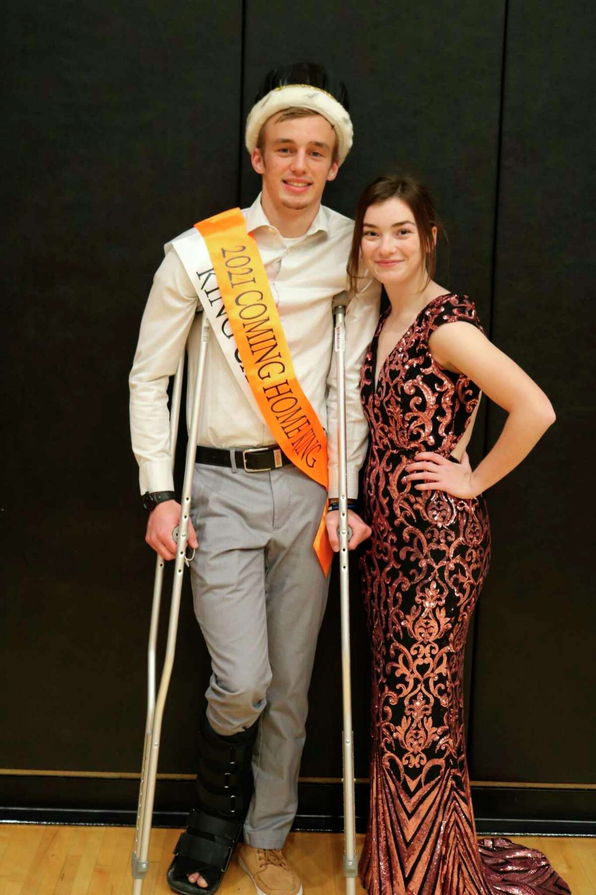 Pictured is Harbor Beach 2021 Cominghome King Dylan Kadar. He is being escorted by Makara Kramer. (Submitted Photo)