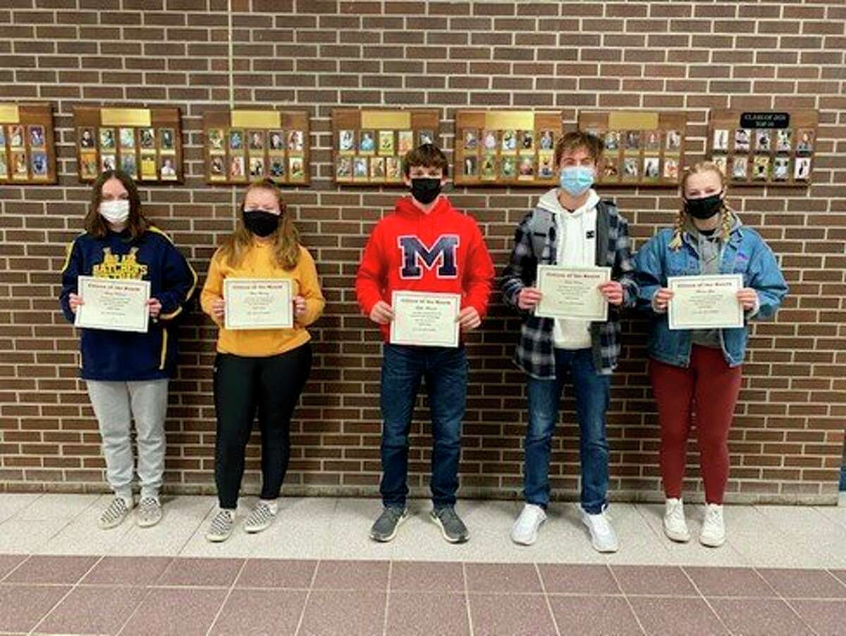 The Bad Axe High School has announced their April Citizens of the Month. They are, from left, grade 9 Alexis Bucholtz, grade 10 Griffin Meinhold, grade 11 Noah Kervin and grade 12 Meadow Glass. (Submitted Photo)