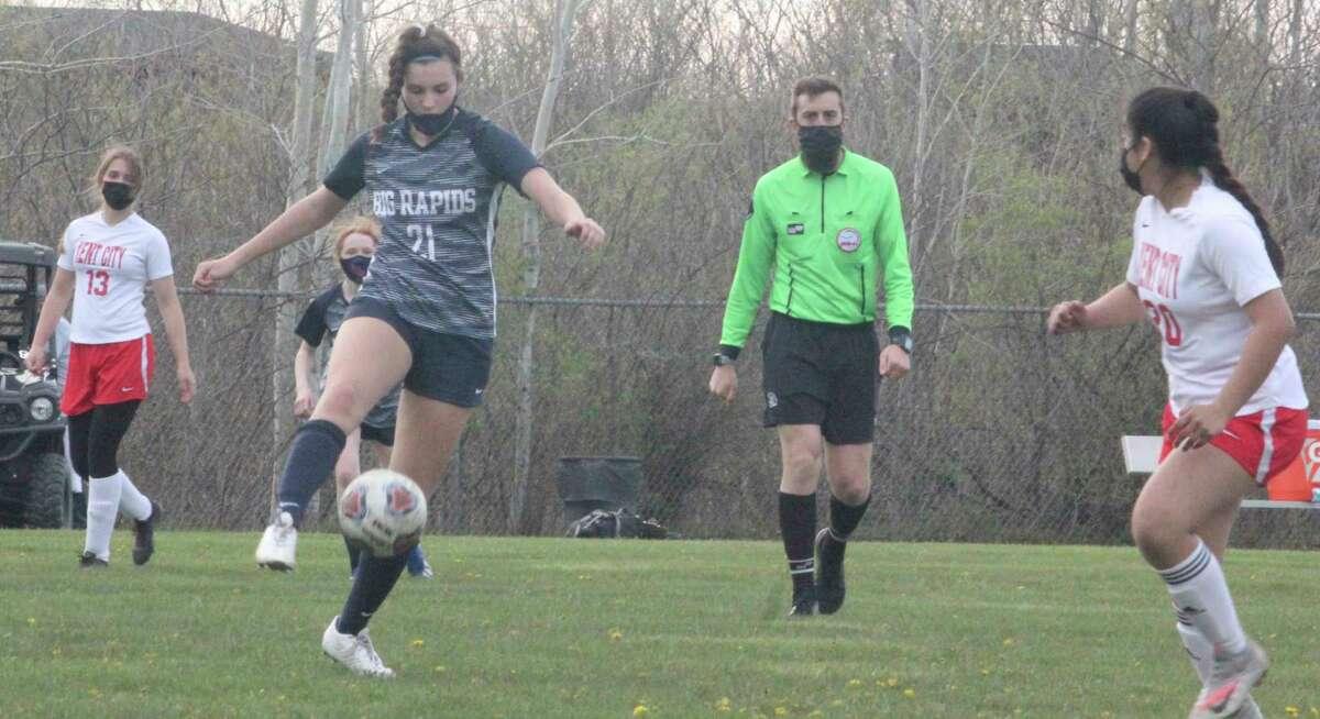 Big Rapids' Julie Waltz (21) has scored three, two and five goals in her past three games. (Pioneer photo/John Raffel)