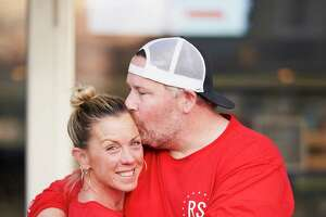 """Fairfield's Bridget Lesizza, shown here with her husband, Jason, cannot be vaccinated against COVID-19 due to health concerns. """"I'm banking on people getting vaccinated and building up the herd immunity to go on living life without a mask,"""" she said."""