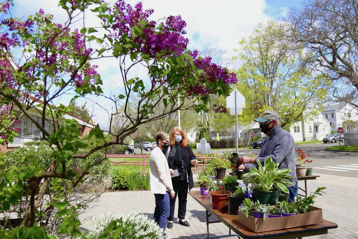 It was a beautiful day for The Bigelow Center for Senior Activities' first-ever plant exchange on Friday, April 30, 2021, in Fairfield, Conn.
