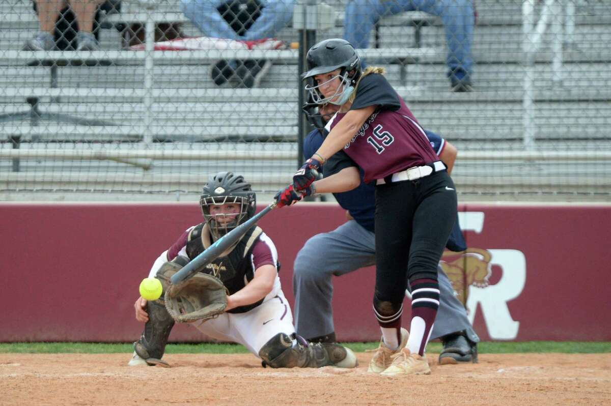 Abby Bergeron (15) of George Ranch singles during the first game of a 6A Region III bi-district softball playoff series between the Cinco Ranch Cougars and the George Ranch Longhorns on Thursday, April 29, 2021 at Cinco Ranch HS, Katy, TX.