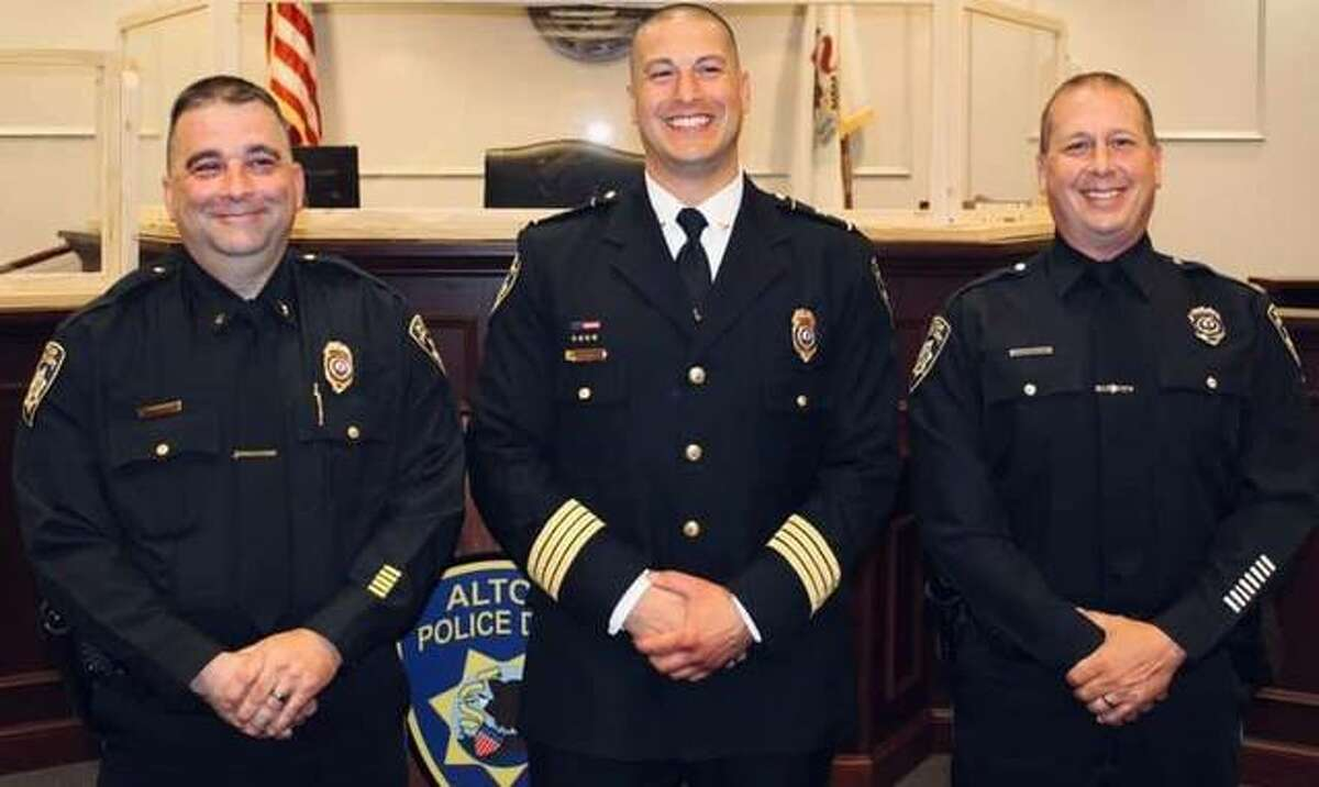 Two recent promotions have been announced by the Alton Police Department. Alton Police Sgt. Dustin Christner, left, is now Lt. Christner and Alton Police Officer Chris Mattila, right, is now Sgt. Mattila. They are shown with Alton Police Chief Marcos Pulido, center. The lieutenant promotion fills a vacancy created by Lt. Dave DeWall's retirement last year.