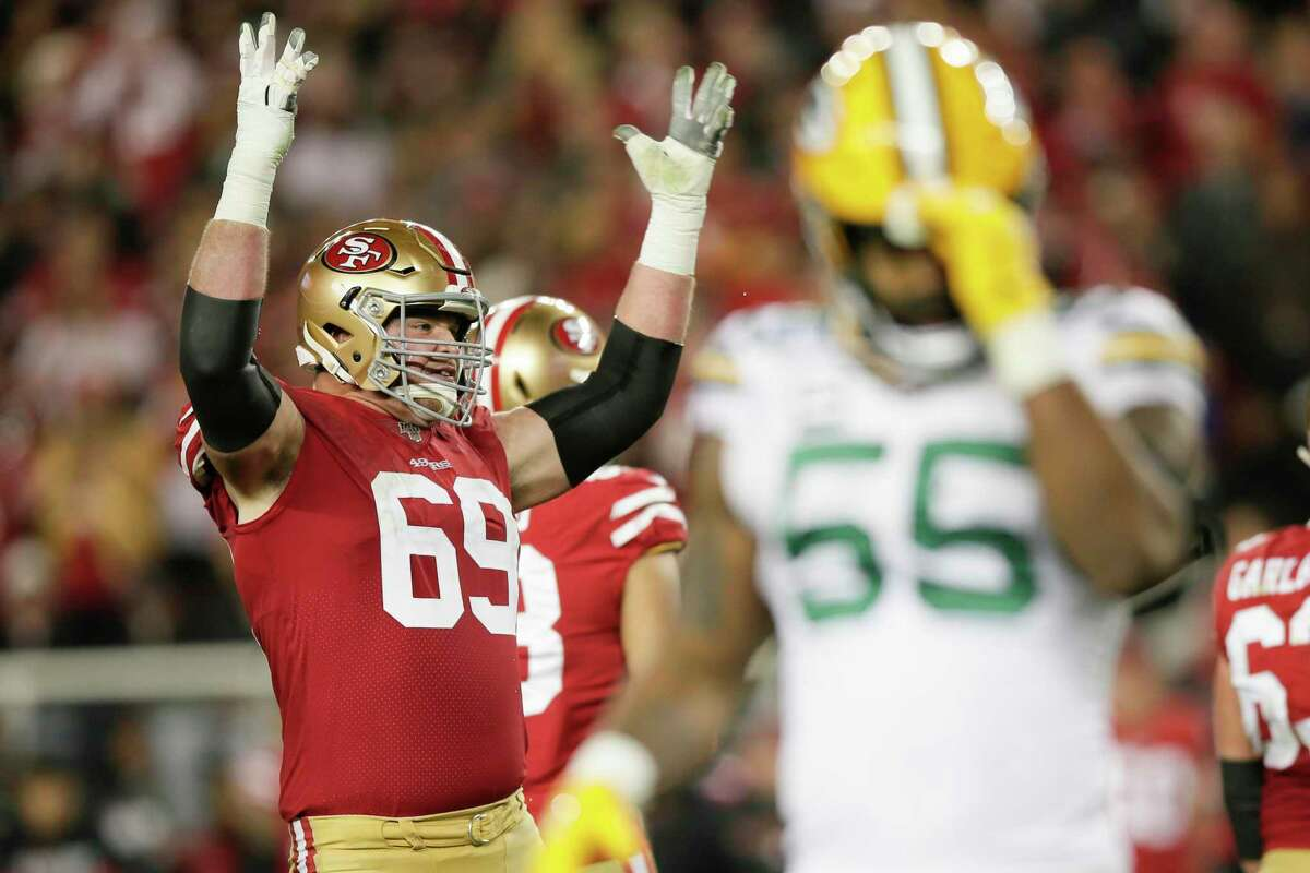 San Francisco 49ers' Mike McGlinchey reacts in the fourth quarter during the NFC Championship game between the San Francisco 49ers and the Green Bay Packers at Levi's Stadium on Sunday, Jan. 19, 2020 in Santa Clara, Calif.