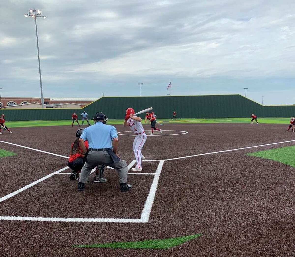 Katy and Fort Bend Austin compete in game two of their Region III-6A bi-district series April 30. The game was relocated to Cypress Ranch High School due to rain. Katy won 11-1 to clinch the series.
