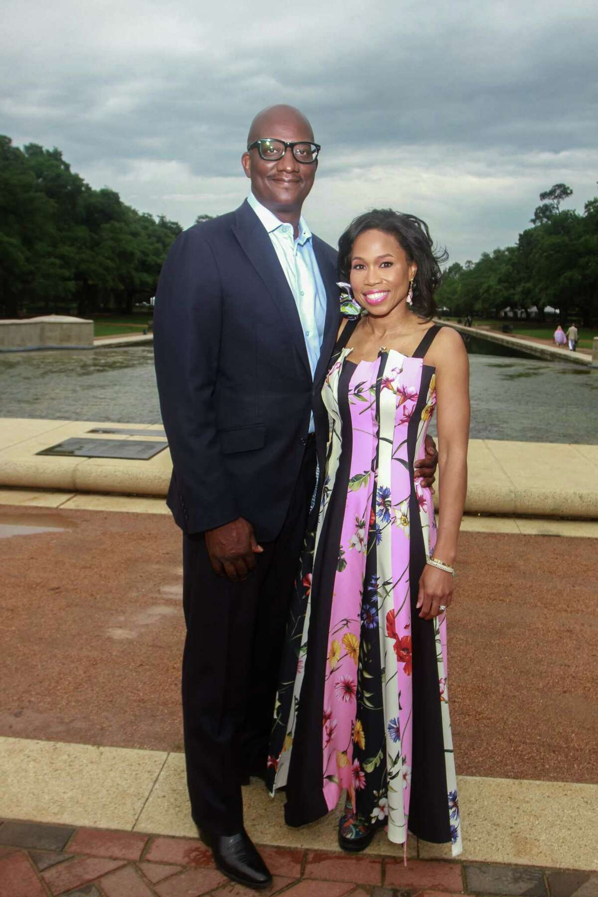 Roslyn Bazzelle Mitchell and Derrick Mitchell at Evening in the Park, hosted by the Hermann Park Conservancy, in Houston on April 30, 2021.