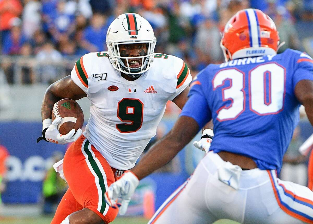 ORLANDO, FL - AUGUST 24: Brevin Jordan #9 of the Miami Hurricanes in action against the Florida Gators in the Camping World Kickoff at Camping World Stadium on August 24, 2019 in Orlando, Florida.(Photo by Mark Brown/Getty Images)
