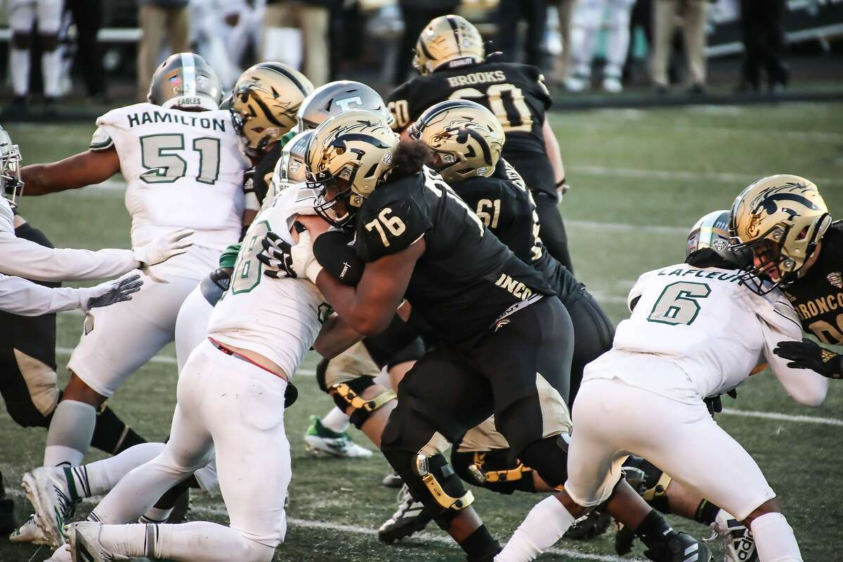 The 49ers selected Western Michigan offensive tackle Jaylon Moore in the fifth round of the NFL draft on Saturday, May 1, 2021.