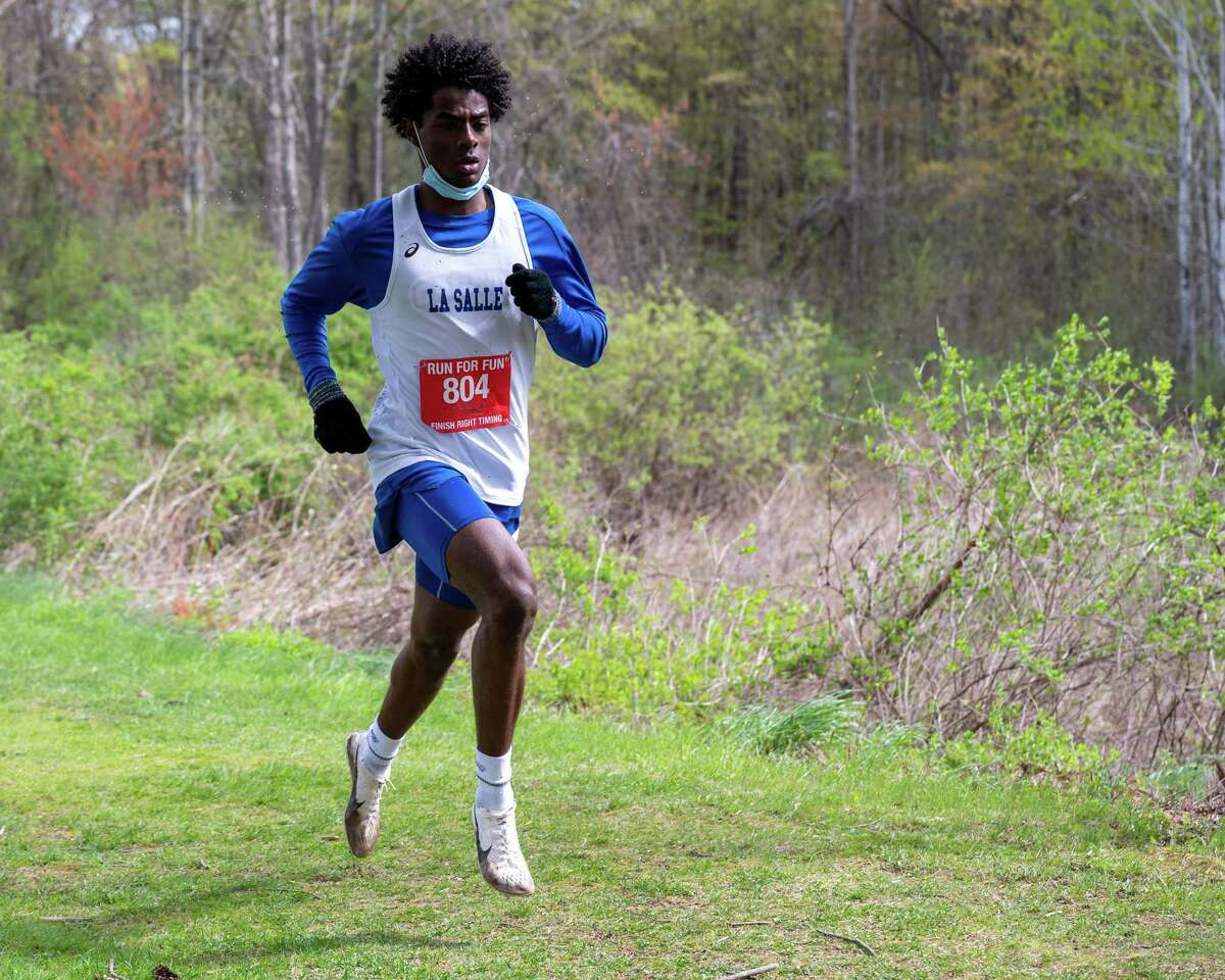 LaSalle junior Gitch Hayes won the Colonial Council boys cross country championship meet with a time of 13:31 at New Scotland Road Park in Voorheesville on Saturday, May 1, 2021 (Jim Franco/Special to the Times Union)