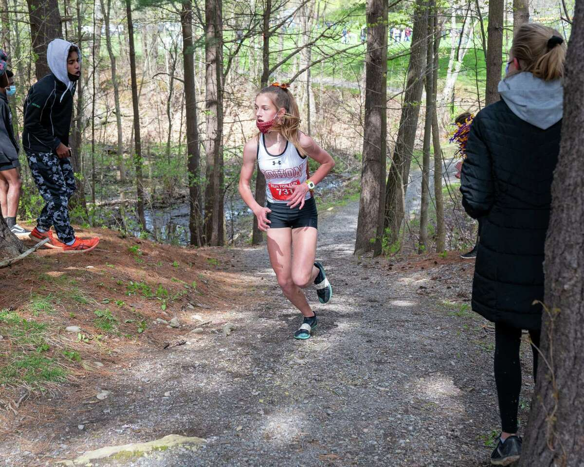 Mohonasen eighth grader Rachel Miller won the Colonial Council girls cross country championship with a time of 16:07 at New Scotland Road Park in Voorheesville on Saturday, May 1, 2021 (Jim Franco/Special to the Times Union)