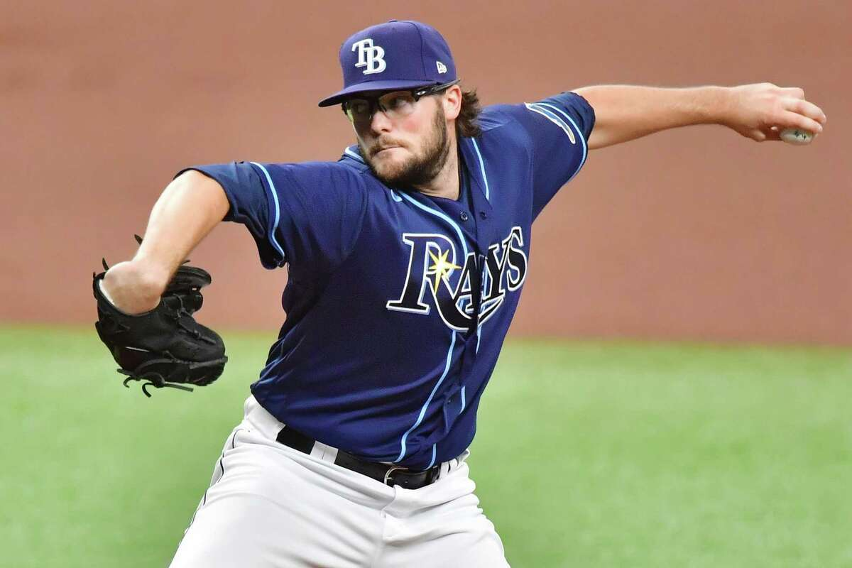 ST PETERSBURG, FLORIDA - MAY 01: Josh Fleming #19 of the Tampa Bay Rays delivers a pitch to the Houston Astros in the first inning at Tropicana Field on May 01, 2021 in St Petersburg, Florida.