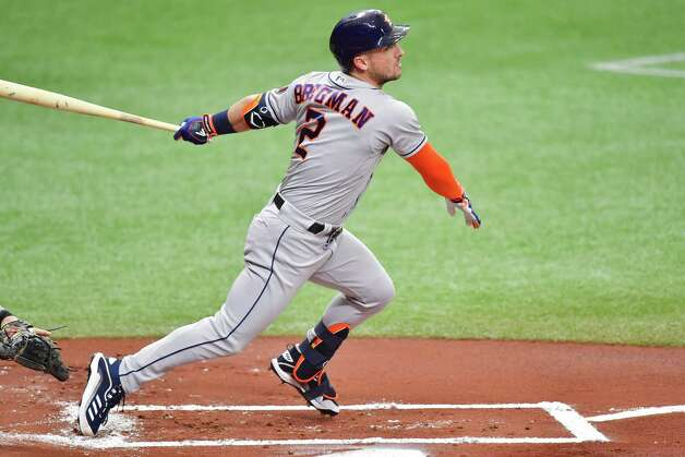 ST PETERSBURG, FLORIDA - MAY 01: Alex Bregman #2 of the Houston Astros hits an RBI single off of Josh Fleming of the Tampa Bay Rays in the first inning at Tropicana Field on May 01, 2021 in St Petersburg, Florida. Photo: Julio Aguilar, Getty Images / 2021 Getty Images