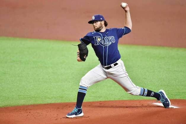 ST PETERSBURG, FLORIDA - MAY 01: Josh Fleming #19 of the Tampa Bay Rays delivers a pitch to the Houston Astros in the first inning at Tropicana Field on May 01, 2021 in St Petersburg, Florida. Photo: Julio Aguilar, Getty Images / 2021 Getty Images