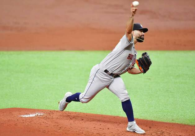 ST PETERSBURG, FLORIDA - MAY 01: Jose Urquidy #65 of the Houston Astros delivers a pitch to the Tampa Bay Rays in the first inning at Tropicana Field on May 01, 2021 in St Petersburg, Florida. Photo: Julio Aguilar, Getty Images / 2021 Getty Images