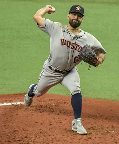 Houston Astros starter Jose Urquidy pitches against the Tampa Bay Rays during the first inning of a baseball game Saturday, May 1, 2021, in St. Petersburg, Fla. (AP Photo/Steve Nesius) Photo: Steve Nesius, Associated Press / Copyright 2021 The Associated Press. All rights reserved