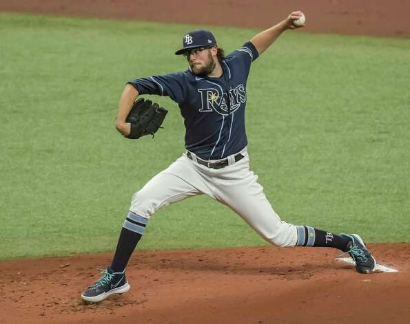 Tampa Bay Rays starter Josh Fleming pitches against the Houston Astros during the first inning of a baseball game Saturday, May 1, 2021, in St. Petersburg, Fla. (AP Photo/Steve Nesius) Photo: Steve Nesius, Associated Press / Copyright 2021 The Associated Press. All rights reserved