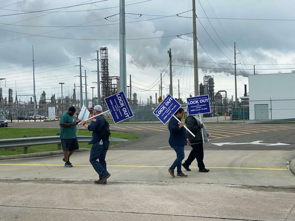 Workers were picketing outside ExxonMobil's Beaumont plant around 4:15 p.m. Saturday.