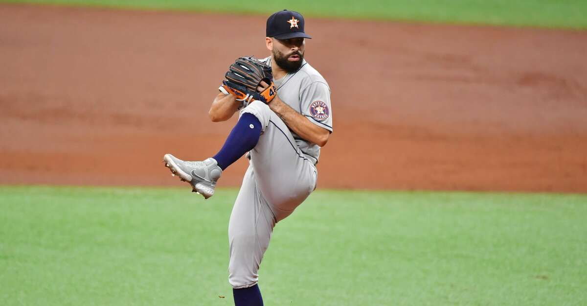 Jose Urquidy #65 of the Houston Astros delivers a pitch to the Tampa Bay Rays in the first inning at Tropicana Field on May 01, 2021 in St Petersburg, Florida. (Photo by Julio Aguilar/Getty Images)