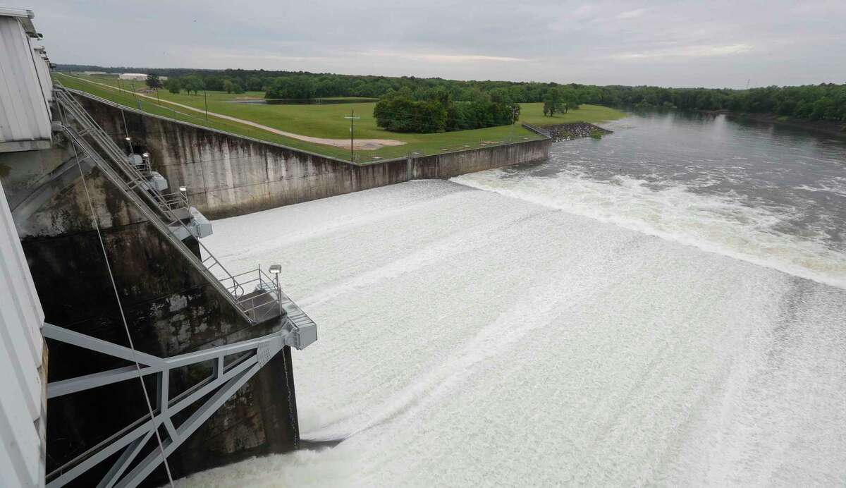 Heavy rainfall that moved into Montgomery County raised Lake Conroe a foot above its normal pool level, prompting the San Jacinto River Authority to start releasing water, Friday, April 30, 2021, in Conroe. Normal pool for the lake is 201 feet, however, by Friday afternoon the lake was up to 202.23 feet and rising. SJRA officials said several areas around the lake and some tributaries had seen several inches of accumulation. Lake Conroe at FM 1375 had about 4.4 inches of accumulation, Lake Creek in Dobbin was up almost 6 inches and Lake Creek at Egypt was at 2.6 inches followed by Lewis Creek at 4.12.