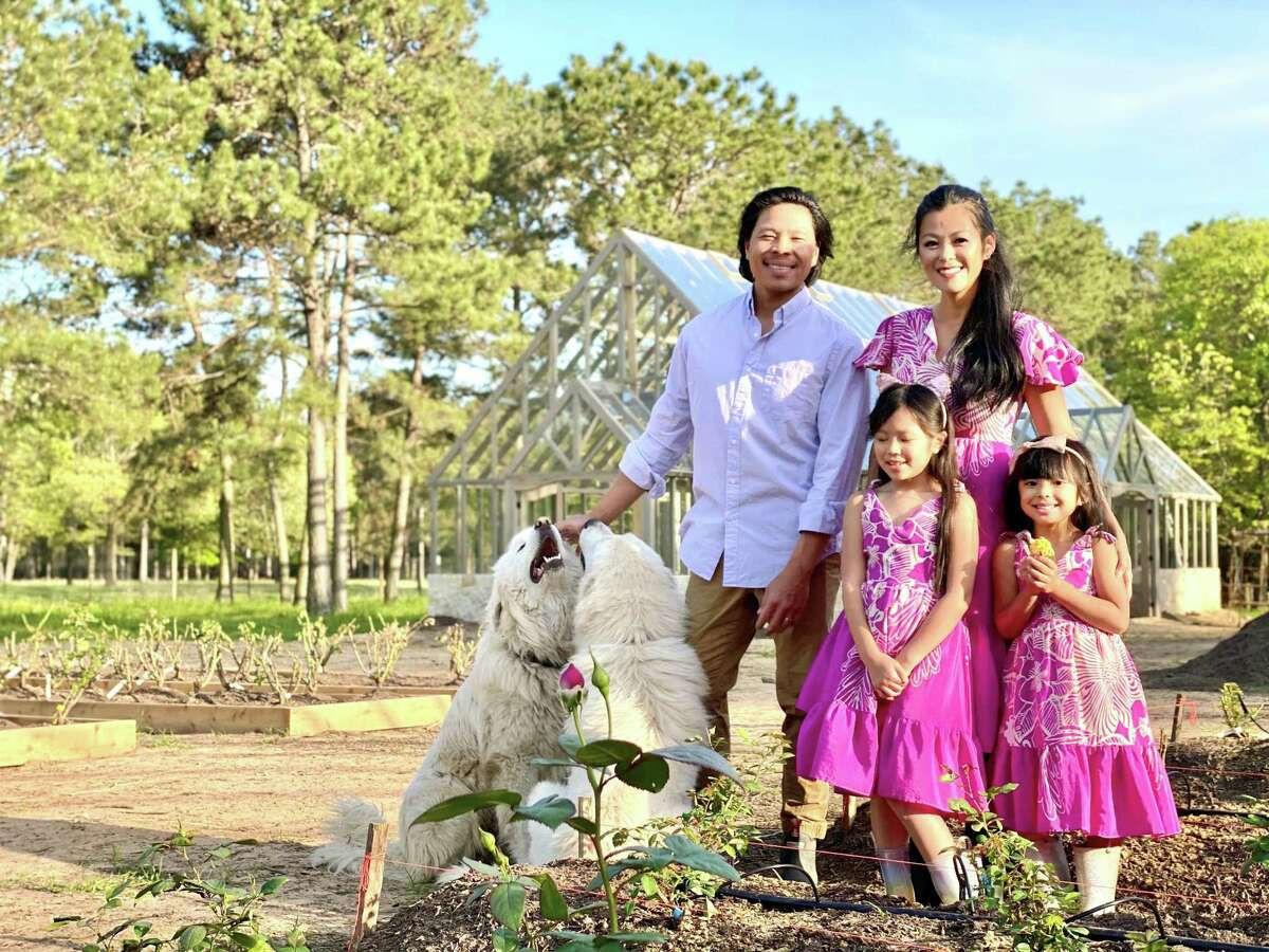 JOY COL FARM: Fashion designer Theresa Pham and husband Shaw Nguyen and their daughters Loghan, 7, and Ava, 4, sold their home in Houston and bought a farm in August 2020 in Magnolia where Theresa is growing a cut garden. They wanted a simpler life during troubled times.