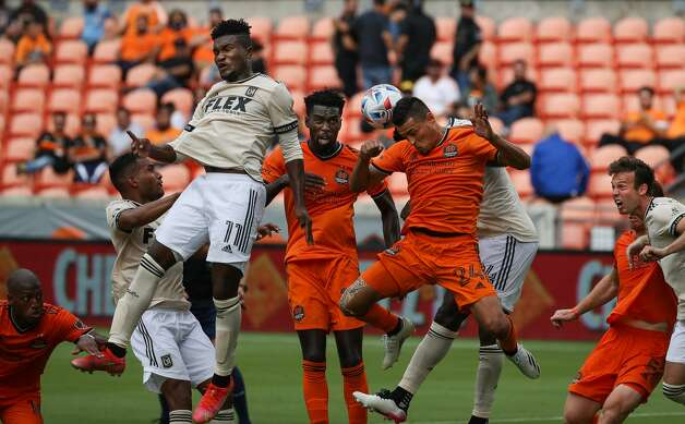 Houston Dynamo FC midfielder Darwin Ceren (24) headers the ball out of bounds during a corner kick in the second half of an MLS match against the Los Angeles FC at BBVA Stadium on Saturday, May 1, 2021, in Houston. The game ended 1-1. Photo: Godofredo A Vásquez/Staff Photographer / © 2021 Houston Chronicle