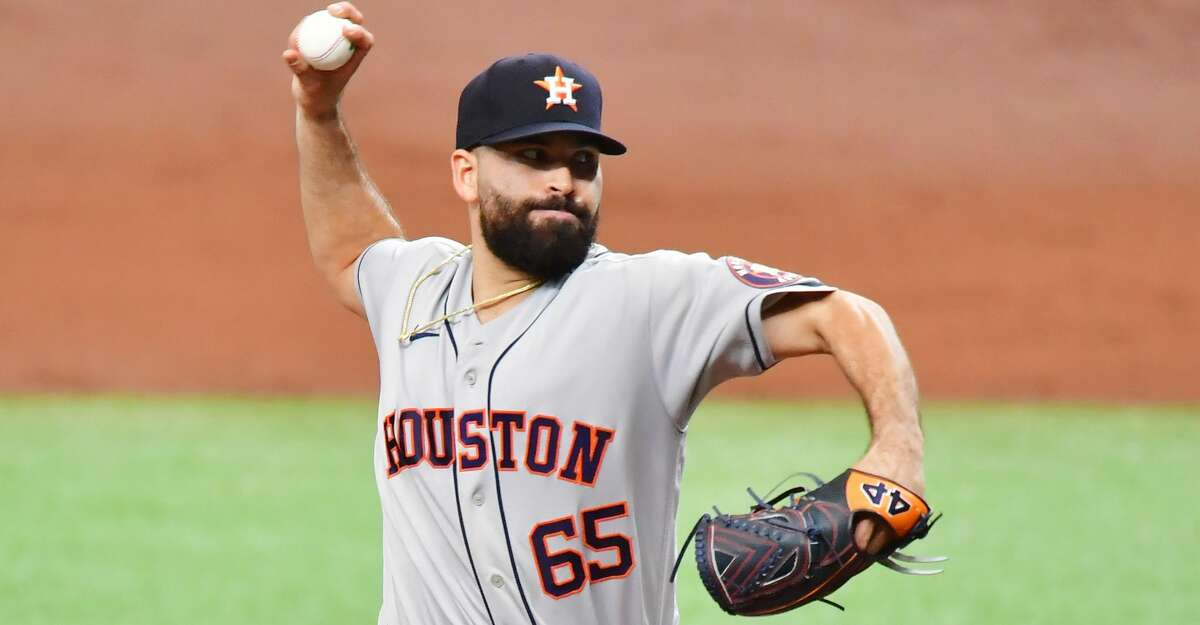 Jose Urquidy of the Houston Astros delivers a pitch to the Tampa Bay Rays in the first inning at Tropicana Field on Saturday, May 1, 2021 in St. Petersburg, Fla. (Julio Aguilar/Getty Images/TNS)