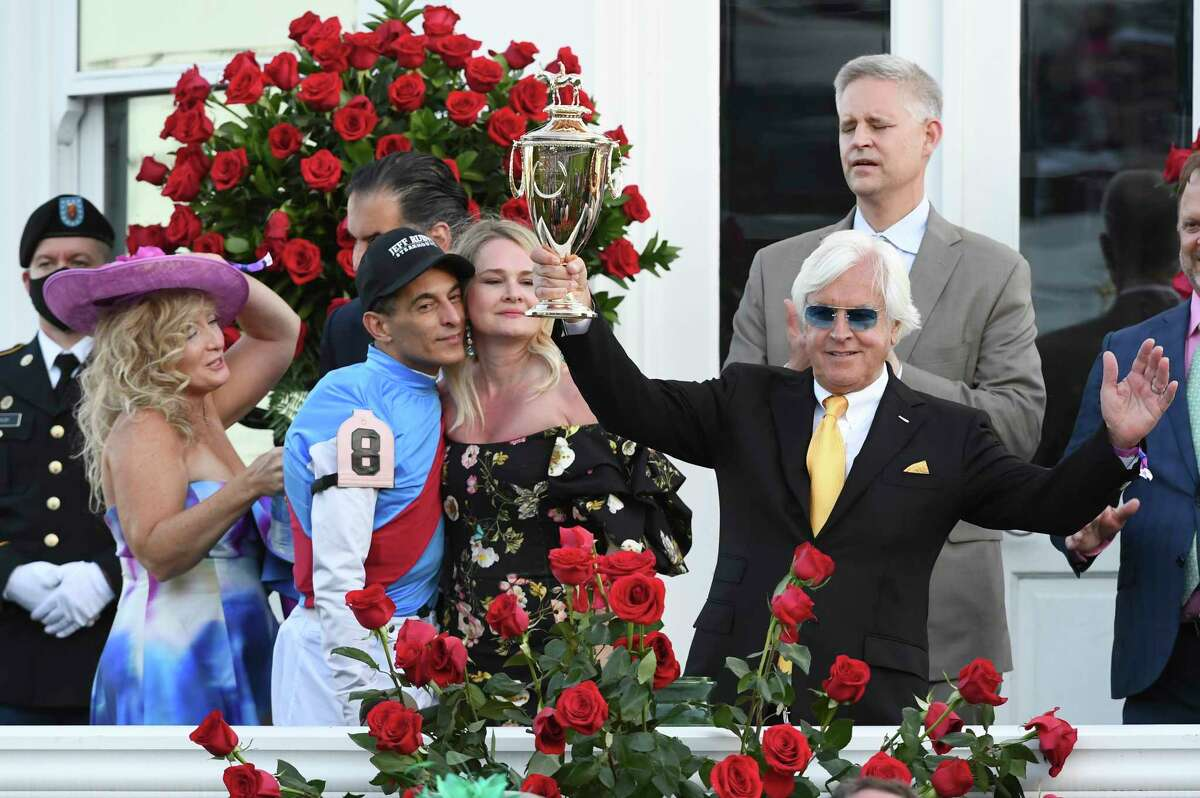 Trainer Bob Baffert, shown after Medina Spirit's victory in the Kentucky Derby, has been suspended by NYRA temporarily, pending a Kentucky investigation.