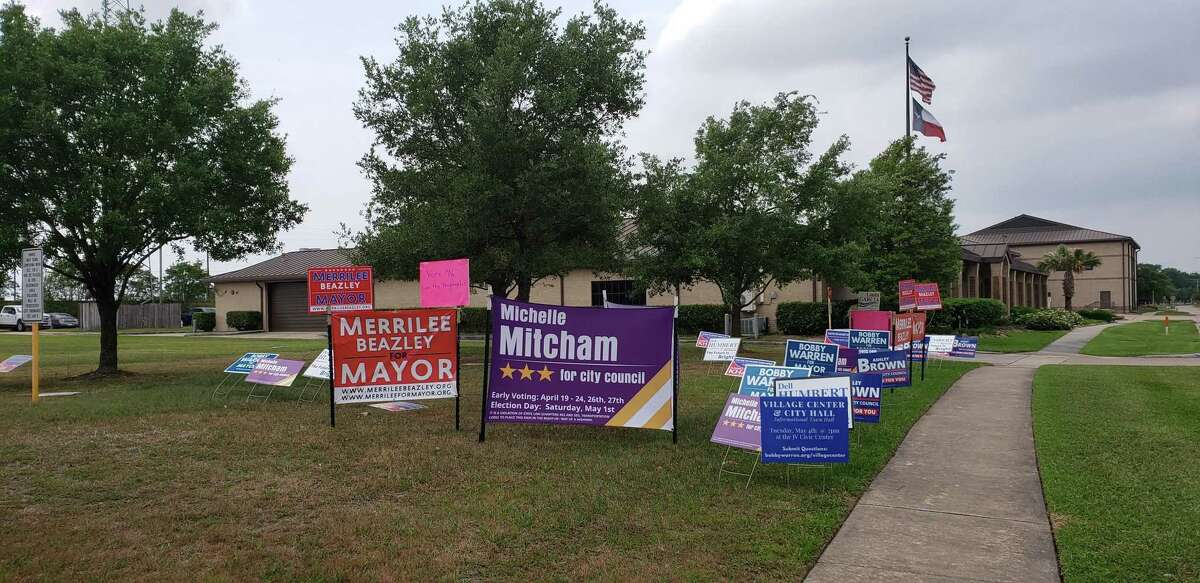 Campaign signs for the city of Jersey Village's May 1 elections sit in a designated area adjacent to the Civic Center parking lot on April 29, 2021.