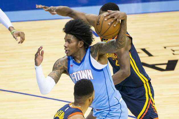 Houston Rockets guard Kevin Porter Jr. (3) drives during the third quarter of an NBA game between the Houston Rockets and Golden State Warriors on Saturday, May 1, 2021, at Toyota Center in Houston. Photo: Mark Mulligan/Staff Photographer / © 2021 Mark Mulligan / Houston Chronicle