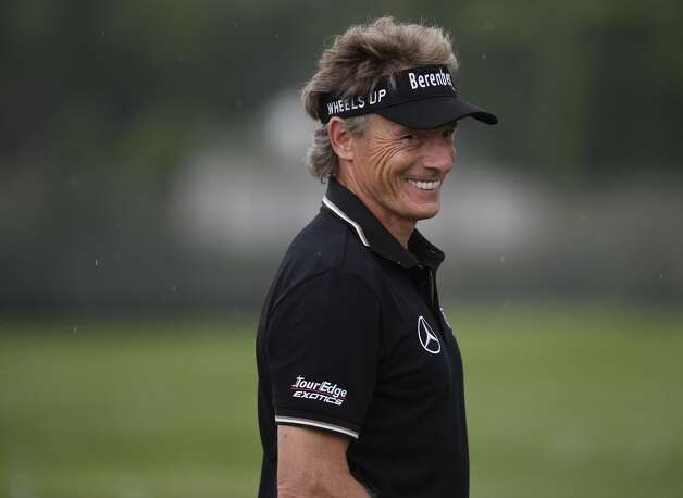 Bernhard Langer stands on the practice tee before the first round of the Insperity Invitational golf tournament, Saturday, May 1, 2021, in The Woodlands, TX. Photo: Eric Christian Smith/Contributor