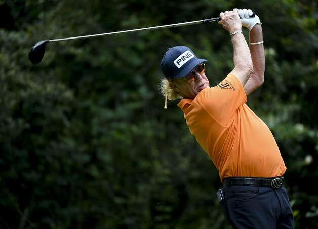 Miguel Angel Jimenez tees off on the fifth hole during the first round of the Insperity Invitational golf tournament, Saturday, May 1, 2021, in The Woodlands, TX. Photo: Eric Christian Smith/Contributor